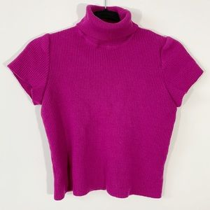 ST . JOHN . Ribbed Cropped Turtle Neck Top . M